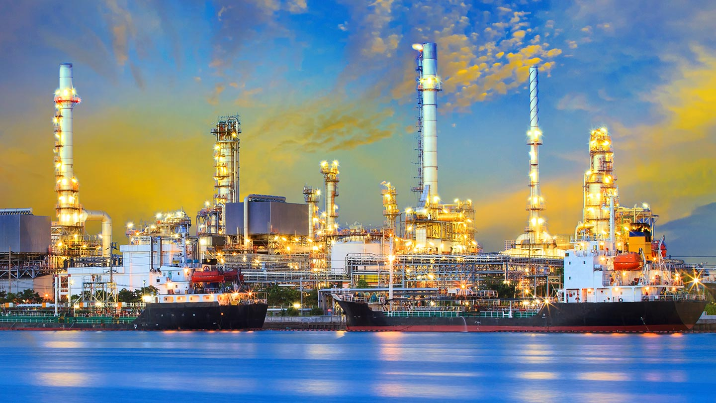 Tanker ship and petrochemical oil refinery