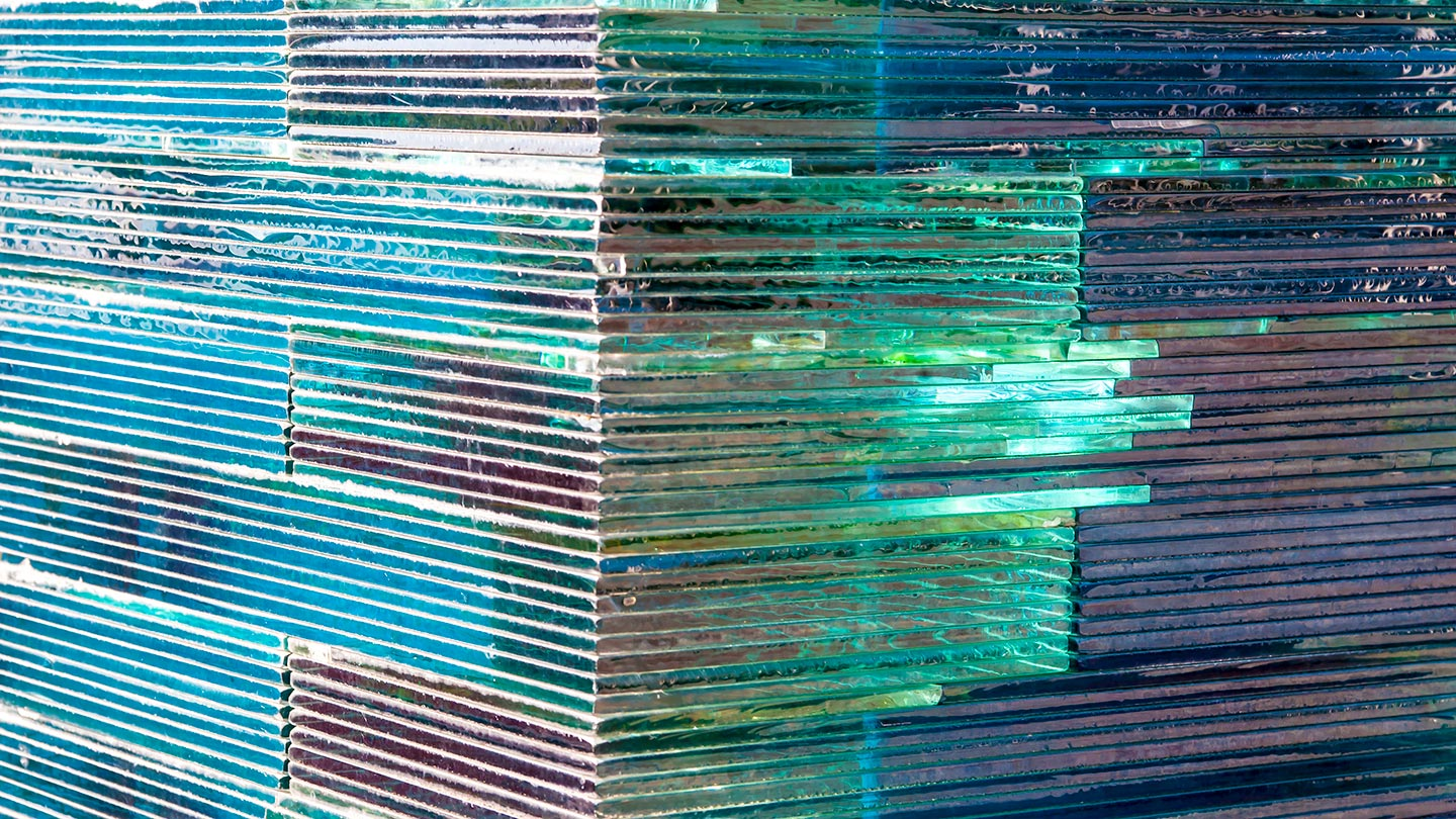 Sheets of flat glass, stacked on top of each other