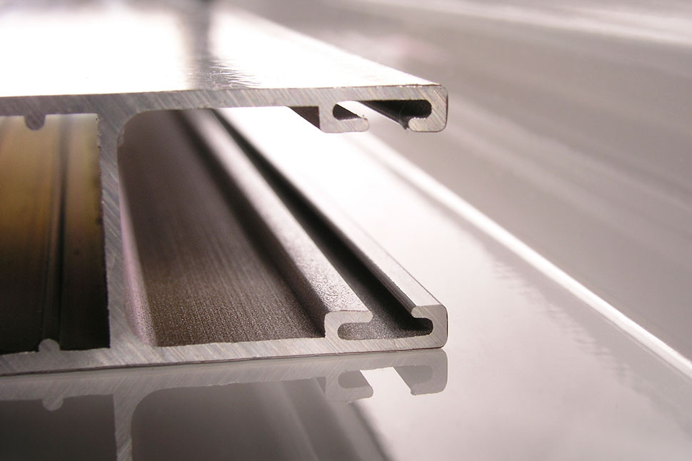 Aluminum extruded part for a window.